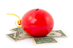Red balloon piggy Bank Stock Photography