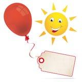 Red Balloon Price Sticker Funny Sun Face. Price sticker and red balloon with funny sun face on the white Stock Illustration