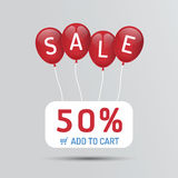 Red Balloon sale with discounts paper poster concept icons. For shop, retail. vector illustration Stock Image