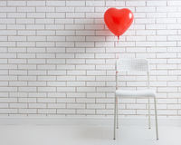 Red balloon in shape of heart Royalty Free Stock Photography