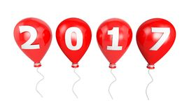 Red Balloon on a string 2017 Year. New Year Typographic Arts Car Royalty Free Stock Images