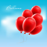 Red balloon. Vector illustration of red balloon in the blue sky Stock Photos