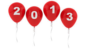 Red Balloons 2013 - New year Stock Photography