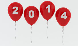 Red Balloons 2014 - New year Stock Photography