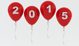 Red Balloons 2015 - New year Stock Photo