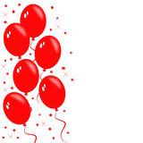Red balloons. Party concept-bunch of red balloons with twinkles and stars,isolated on white background Royalty Free Stock Image