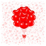 Red balloons. Vector illustration - bunch of red flying balloons heart shaped. EPS 10, RGB. Created with gradient mesh and contains transparent objects Stock Photo