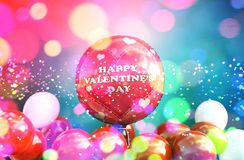 Red balloons with Abstract colorful blurred lights. For Valentines day design background,3d illustration vector illustration