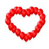 Red balloons arranged in a heart shape Stock Photos