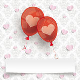 2 Red Balloons Banner Hearts Ornaments Wallpaper Royalty Free Stock Photo