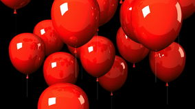 Red Balloons On Black Background stock footage