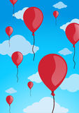 Red balloons. In blue sky and clouds - vector illustration Royalty Free Stock Photography