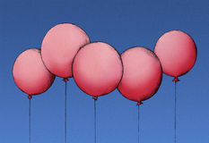 Red Balloons in the blue Sky. Illustration of five red balloons with a cord, the background is a blue sky Royalty Free Stock Photography