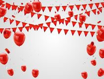Red balloons, confetti concept. Celebration Vector illustration.  Stock Illustration