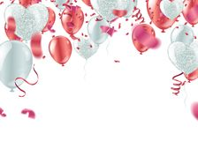 Red balloons confetti, serpentine or ribbons falling on white tr. Ansparent background vector illustration