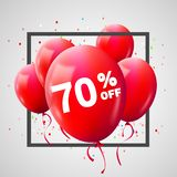 Red Balloons Discount Frame. SALE concept for shop market store advertisement commerce. 70 percent off. Market discount, red. Balloon. Business sale template vector illustration