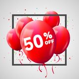 Red Balloons Discount Frame. SALE concept for shop market store advertisement commerce. 50 percent off. Market discount, red. Balloon. Business sale template royalty free illustration