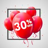 Red Balloons Discount Frame. SALE concept for shop market store advertisement commerce. 30 percent off. Market discount, red. Balloon. Business sale template royalty free illustration