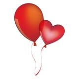 Red balloons Flying romantic celebration. Illustration Royalty Free Stock Image
