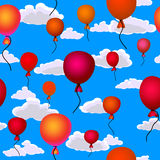 Red balloons flying up in the sky seamless. Background Royalty Free Stock Image