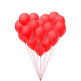Red balloons in form of heart. Valentines Day icon. Vector illustration stock illustration