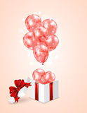 Red balloons and gift box. Open present with red balloons on blurry background, illustration Stock Image