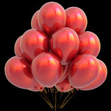 Red balloons happy birthday party decoration glossy scarlet Stock Image