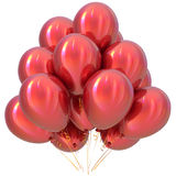 Red balloons happy birthday party decoration scarlet glossy. Holiday anniversary celebrate new year`s eve xmas christmas carnival greeting card design element Royalty Free Stock Image
