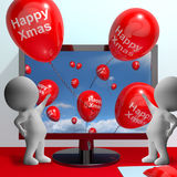 Red Balloons With Happy Xmas For Online Greetings Royalty Free Stock Photography