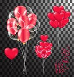 Red balloons, heart balloons transparent banner template, backgr. Ound. vector illustration Royalty Free Stock Photography