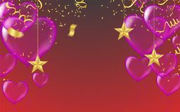 Red balloons, heart balloons transparent banner template Celebra. Tion background template with confetti with bokeh effect and party balloons vector illustration