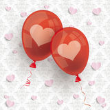 2 Red Balloons Hearts Ornaments Wallpaper Stock Photos
