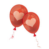 2 Red Balloons Hearts. Two red balloons with hearts on the white Royalty Free Stock Image