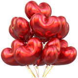 Red balloons love heart shaped happy birthday party decoration. Red balloons love heart shaped happy birthday party event decoration glossy. Valentine`s Day Royalty Free Stock Photography