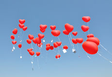 Red balloons with the messages Stock Photo
