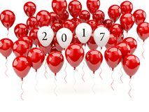 Red balloons with 2017 New Year sign Stock Images