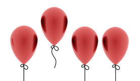 Red balloons one fly out on white Royalty Free Stock Images