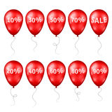 Red Balloons with Percents and Sale Text Stock Photo
