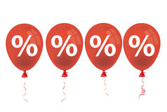 4 Red Balloons Percents. Percents with red balloons on the white background Stock Photo