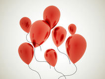 Red balloons rendered on dark Stock Photos