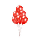 Red balloons. Set of red balloons with bow isolated on a white background, illustration royalty free illustration