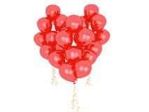 Red balloons in shape of heart. Isolated. Royalty Free Stock Photography