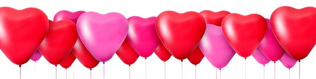 Red balloons in the shape of hearts. 3D Rendering Red balloons in the shape of hearts Royalty Free Stock Images