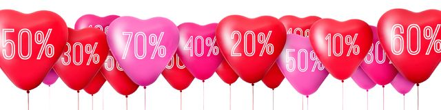 Red balloons in the shape of hearts, Sale. 3D Rendering Red balloons in the shape of hearts, Sale Stock Photo