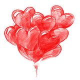 Red Balloons in the shape of Hearts. For Valentine's day,pencil drawing, illustration Royalty Free Stock Photography