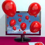 Red Balloons In The Sky. And Coming Out Of Screen As Online Greeting Or Message Stock Image