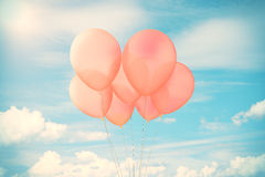 Red balloons in sky Royalty Free Stock Photos