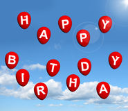 Red Balloons In The Sky Spelling Happy Birthday Stock Photo