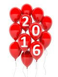 Red balloons with 2016 text. On white background stock illustration