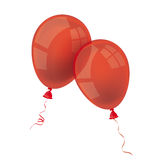 2 Red Balloons. Two red balloons on the white Royalty Free Stock Photo